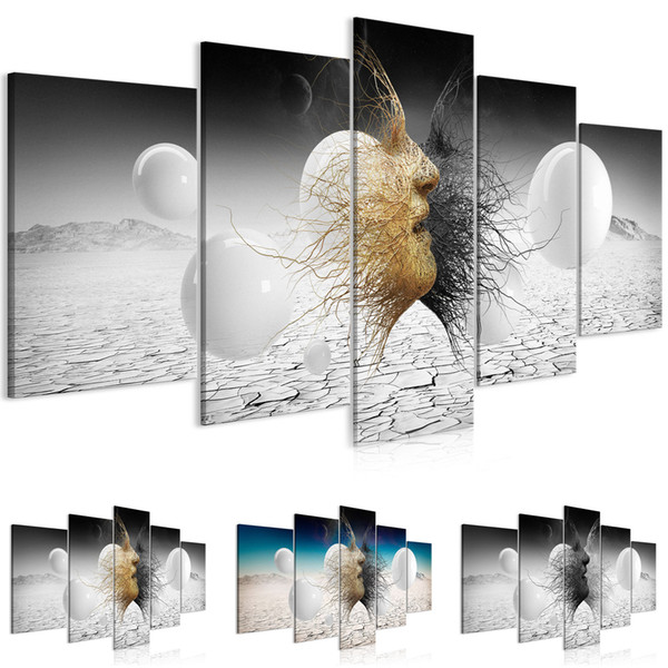 New Fashion Black & Gold Love Kiss Abstract Art on Canvas Painting Poster Wall Art Picture Print Home Wall Decoration Gifts No Frame
