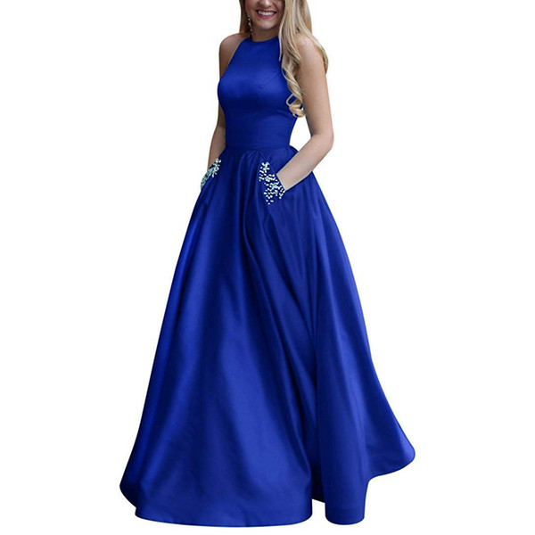 Women's royal blue dress Long Beaded Halter Satin Prom Dress A Line Open Back Evening Gowns Pockets formal dress long dresses evening 2019