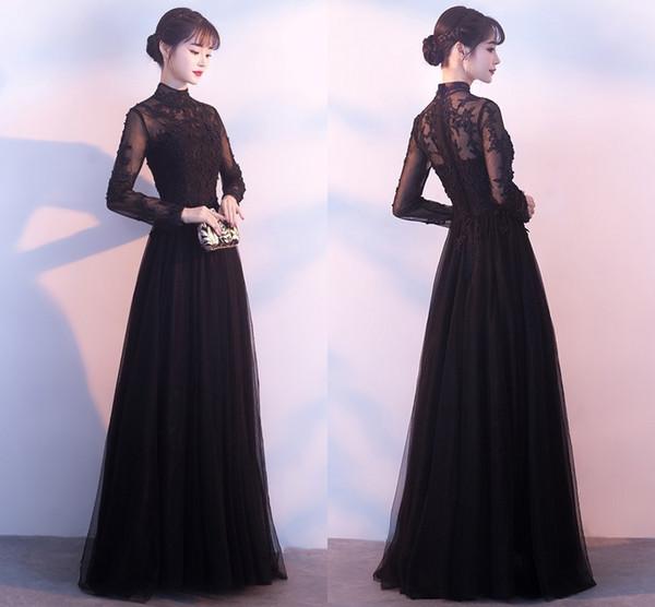 Elegant Noir Longue Queue D'hiver A-Line Robes De Soirée T-shirt De Mode Retour Velveteen Manches Longues Creux Bal Robes De Bal DH21