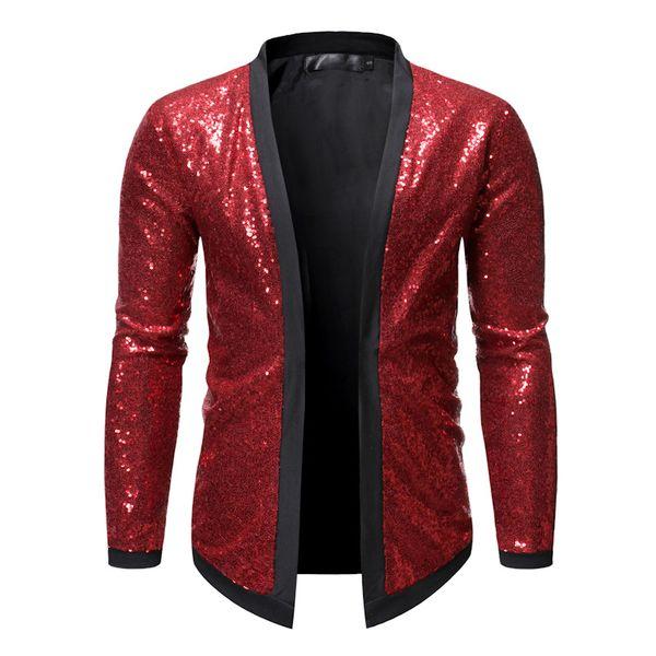 Roupas de palco Tuxedo terno do casamento Jacket Red Sequins Blazer Men Slim Fit DJ Nightclub Prom Blazer Mens do partido para Singers