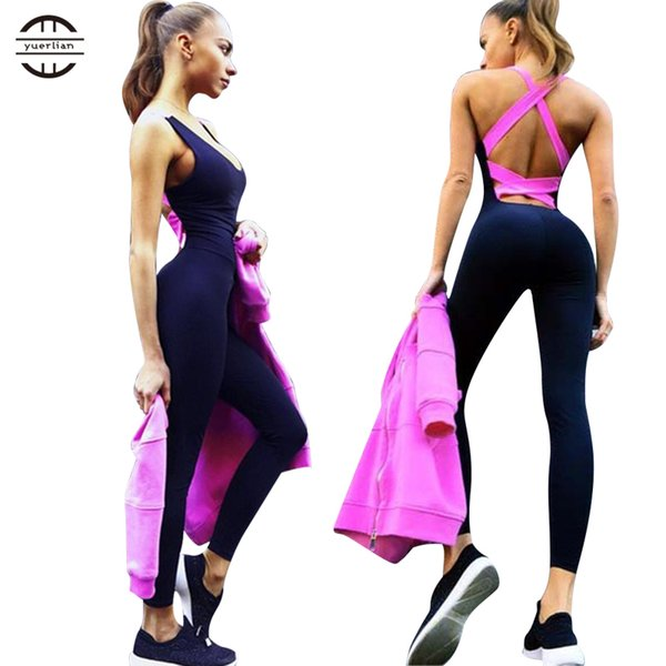 Yel Hot Sexy Girls Backless Playsuit Fitness Tights Jumpsuits Costume Yoga Sport Suit Gym Tracksuit For Women One Piece Bodysuit C19032601