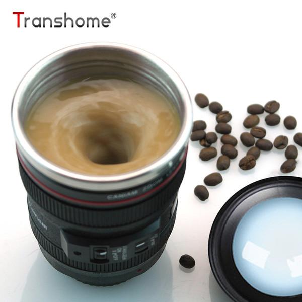 Transhome Creative Self Stirring Mug Camera Lens Mugs 300ml Stainless Steel Mug With Lid Tea Cup Double Wall Travel Coffee Cups C19041302