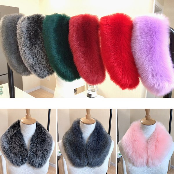 10 colors ladies plush scarf for women winter faux raccoon fur collar scarf wrap warm coat neck warmer 2018 fashion white red
