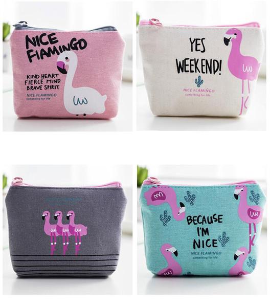 Fashion Lovely Flamingo Cartoon Wallet Cute Key Bag Coin Bags Women Lady Girl Purse Print Wallet Mini Purse