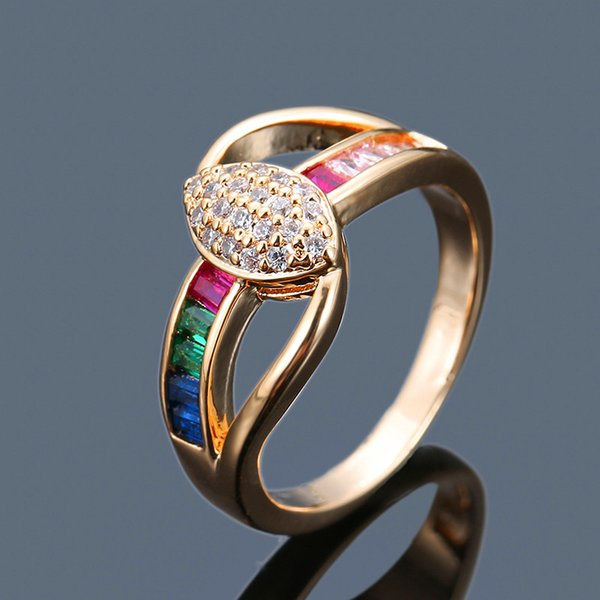Fashion Ladies Big Oval Stone Cross Ring Vintage Silver Yellow Gold Color Love Ring Unique Style Colorful Zircon Rings For Women
