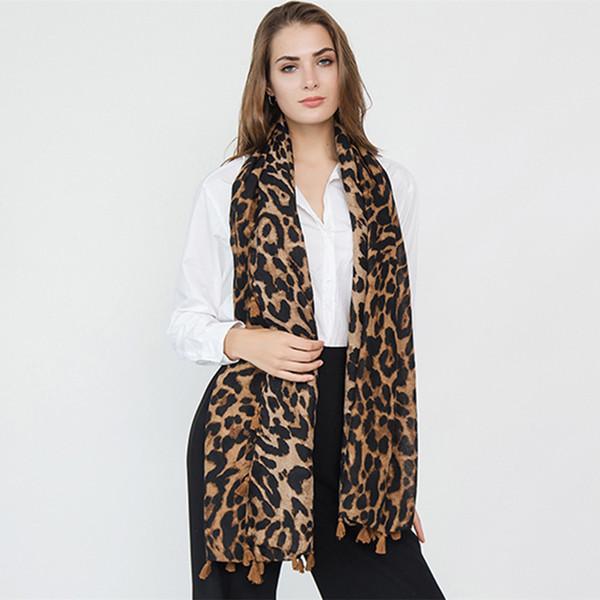Long Leopard Shawl Scarf Cotton Linen Tassel Leopard Spring Autumn Scarf Wrap Printed Scarves 9 Colors