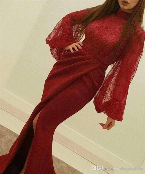 2019 Cheap Dark Red Evening Dress Arabic Dubai Muslim High Neck Celebrity Formal Holiday Wear Prom Party Gown Custom Made Plus Size