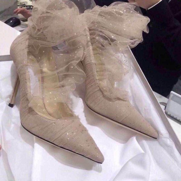 Hot Sale-Fashion Designer Nude Mesh With Suede Blade Women Stiletto High Heels Pointed Toe Pumps Woman Dress Party Wedding Shoes with box