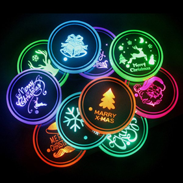 best selling 2pcs Car LED Coaster Christmas Series Snowflake Reindeer Colorful Cup Mat Drink Holders Atmosphere Light Interior Accessories