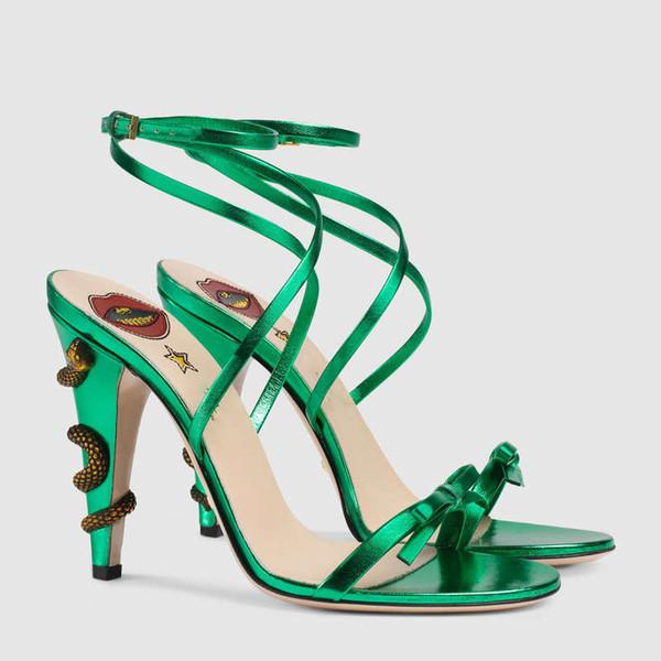Altın Yaz Deri Çapraz Gladyatör Sandalet Bayan Metalik Yılan Yüksek Topuklu Pompalar Yay Bayanlar Mary Jane Ayakkabı Ayak Bileği Kayışı Düğün ayakkabı