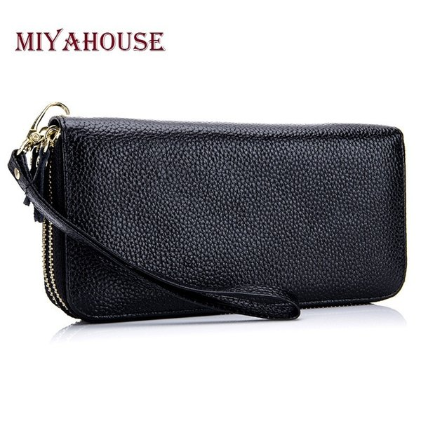 Steven Women Long Zipper Wallets Genuine Leather Female Clutch Bags High Quality Ladies Phone Wallet Card Holder Wristlet