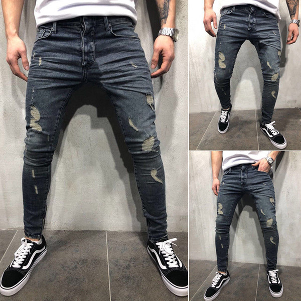 Fashion- Mens Cool Designer Brand Pencil Jeans Skinny Ripped Destroyed Stretch Slim Fit Hop Hop Pants With Holes For Men