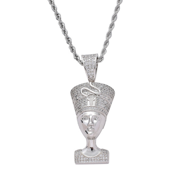 Bling Bling CZ Jewelry Egyptian Pharaoh Pendant Iced Out Cubic Zircon Necklace Hip Hop gift Jewelry drop jewelry