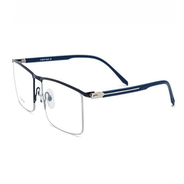 MONGOTEN Business Men Fashion Screwless Half Rim Titanium Myopia Eyeglasses Frame Black Silver Ultralight  Optical Eyewear