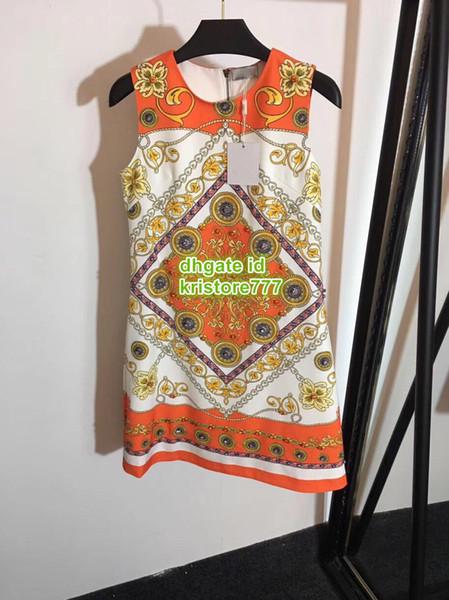 haut de gamme femmes filles chemise robe or chaîne d'hibiscus imprimer col rond sans manches une ligne mini jupe top qualité design de mode robes de luxe