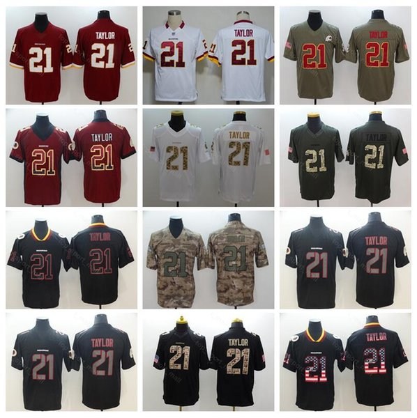 4a6eff028 Washington Redskins 21 Sean Taylor Jersey Men Football Uniform Vapor  Untouchable Salute to Service Red White