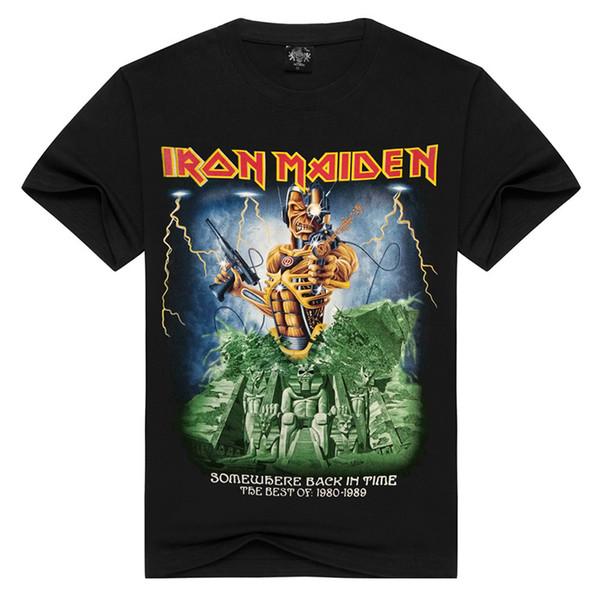 Iron Maiden Impreso 100% Algodón Camiseta Hombre Negro de manga corta Rock Band Retro Tee Nuevo Cool Streetwear Tops HAH0301