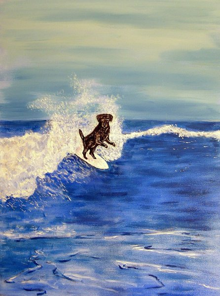 Animals Art Black Labrador Retriever Dog Surfing, Oil Painting Reproduction High Quality Giclee Print on Canvas Modern Home Art Decor
