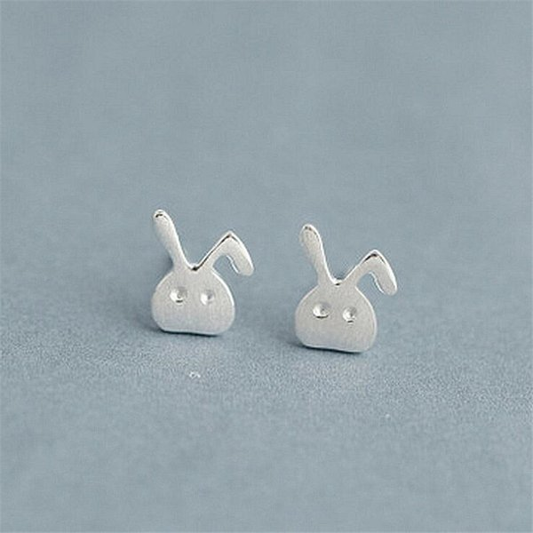 New Simple White Rabbit 925 Sterling Silver Jewelry Personality Simple And Lovely Brushed Animal Stud Earrings SE739