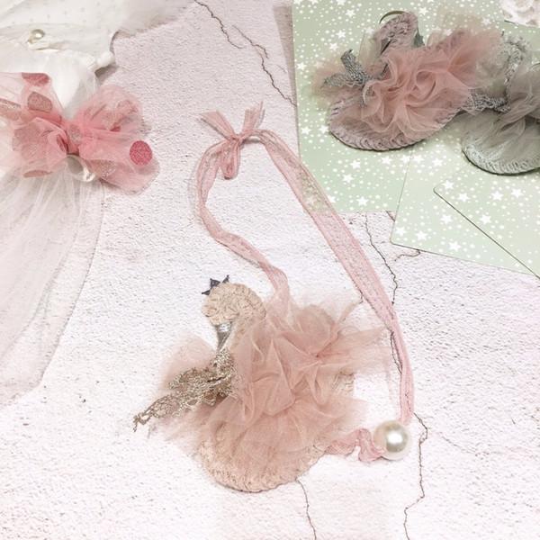 Kore El Yapımı Sevimli Dantel Ipliği Inci Karikatür Kuğu Çocuk Çocuk Kız Kolye Giyim Aksesuarları Gifts-SWCGNL102F