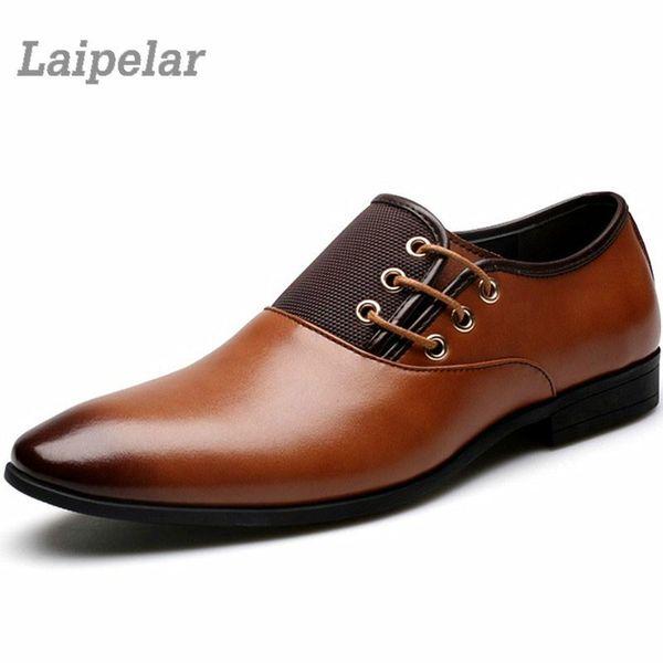 Designer Mens Cuir Casual Chaussures Entreprise Gentleman Appartements Lacets Oxford Grande Taille 38-47 Zapatos Hombre Laipelar