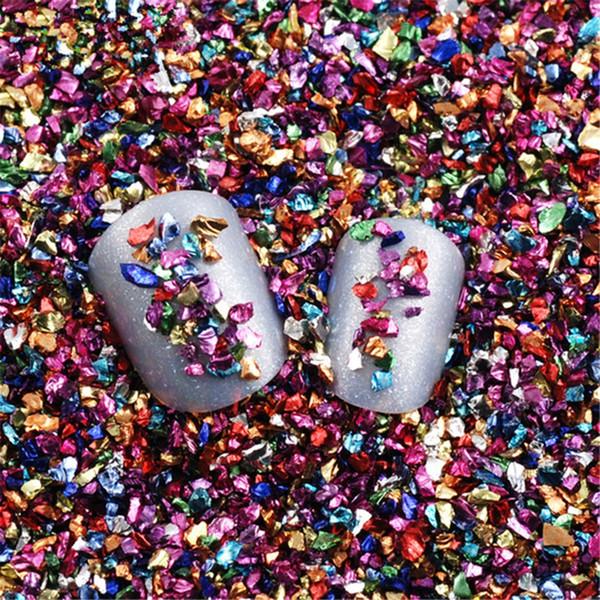 20g/Bag Irregular Metal Color Broken Stone 3D Nail Art Shell Glitter Powder Stone DIY Nail Decoration Tool