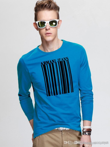 New men's T-shirt, long sleeve shirt with round collar, barcode pattern, young and handsome.