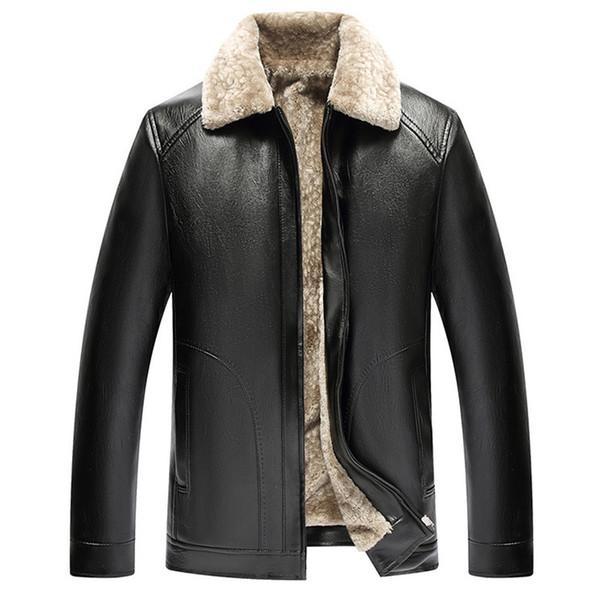 Lederjacke Mann verdicken Winter Pelzmantel Männer Kragen Fleece Futter Freizeitkleidung Pu Jacke Männer mittleren Alters Outwear
