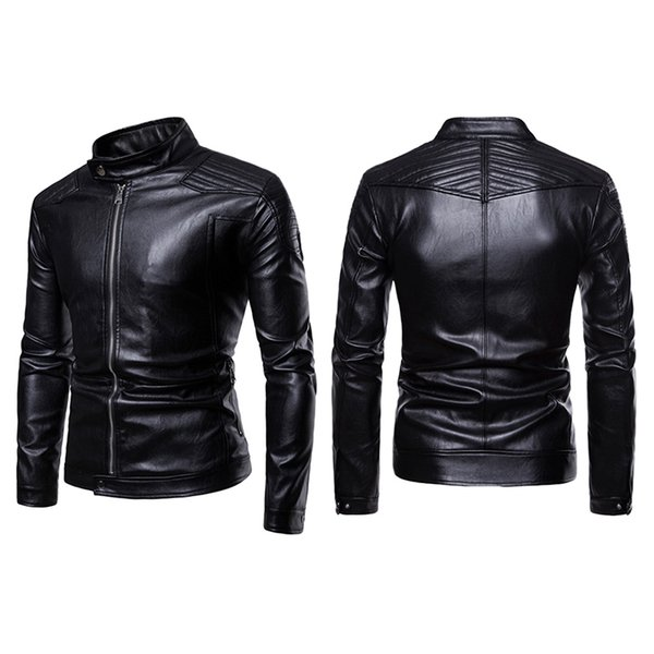New Fashion Brand Motorcycle Leather Jacket Men Classic Design Multi-Zippers Biker Jackets Male Long Sleeve Comfortable Coat