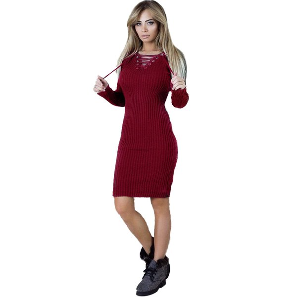 Christmas Dinner Dresses.Warm Knitted Dresses For Women Robe Female Winter Christmas Dress Vestidos Lace Up Bodycon Bandage Pencil Party Dress Dinner Dresses Dress Designers