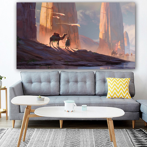 2019 1 Panel Poster Canvas Painting Landscape Desert And Camel Wall Art  Wall Pictures For Living Room Home Decoration No Frame From Kittyfang,  $27.73 ...