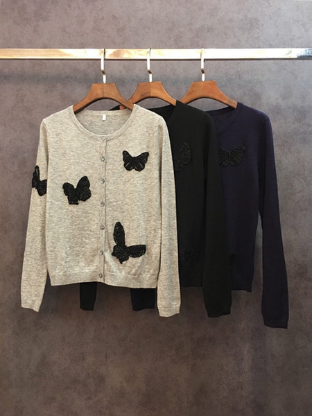 2018 Autumn and Winter Butterfly Nail Bead Stitching Decoration Long Sleeve Button Card Knitted Shirt1129