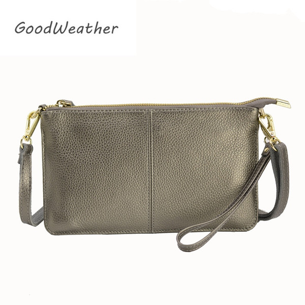 Designer clutch bag women genuine leather handbags bronze fashion zipper leisure envelope clutches female with strap 9colors #274842