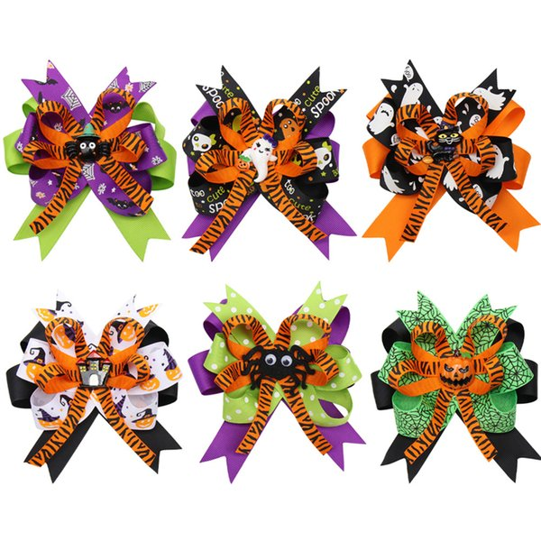 4.5 inch Halloween Hair Bows for Girls Designed Printed Hair Clip Pumpkin Ghost Patches Hairpin Festival Party Kids Hair Accessories BFJ618