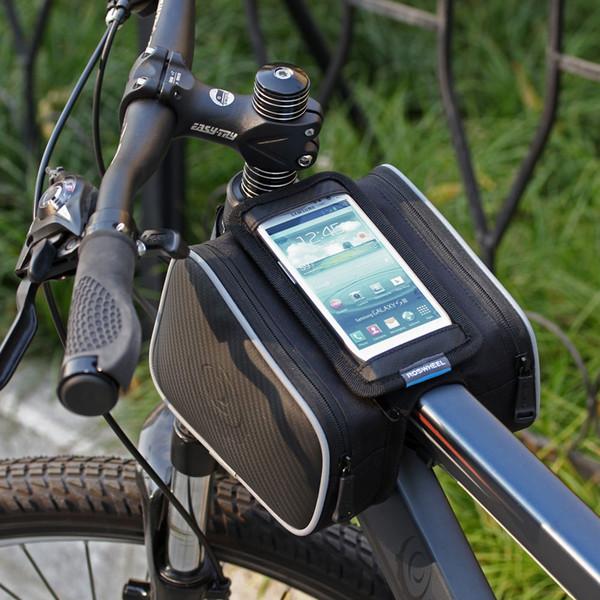 Dual Sides Touch Screen Mobile Phone Bike Bag Black