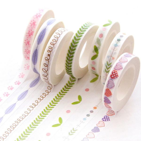 top popular ffice Adhesive 0.7cm*10m Heart Kawaii Washi Tape Decoration Scrapbooking Papeterie Autocollant Masking Tape School Supplies Sticker Stat... 2021