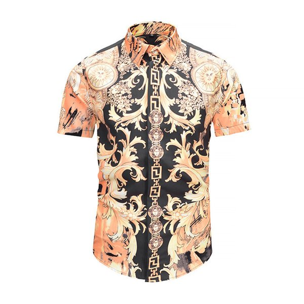 Summer Original Authentic Wear New Pattern Korean Version Short Sleeve Embroidery Printed Mens Shirts