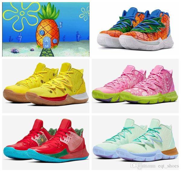 2020 Yeni Kyrie Irving 20. Yıldönümü 5s ANANAS EVİ GRAFFITI İçin Tv PE Basketbol Ayakkabı 5 Ayakkabı Squidward Sünger boyutu 40-46 x