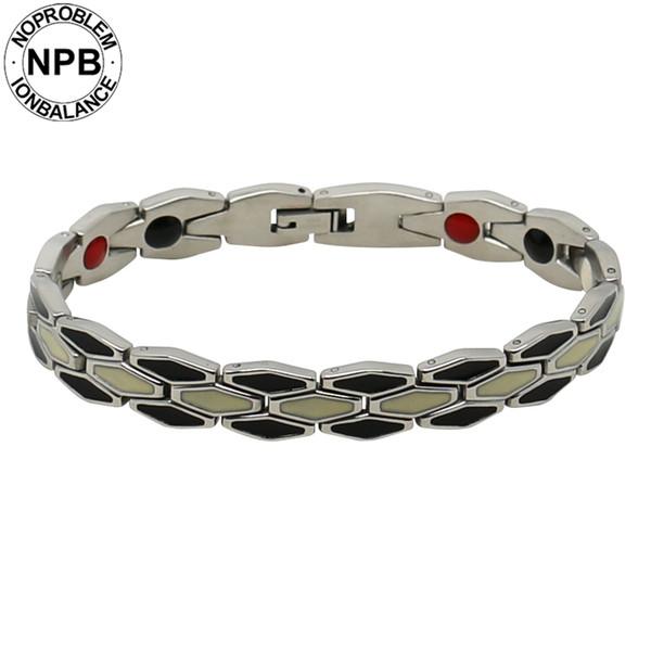 Noproblem 179 grado in acciaio inox 361Lantifatigue magnete al neodimio potere tormalina uomini bracciali