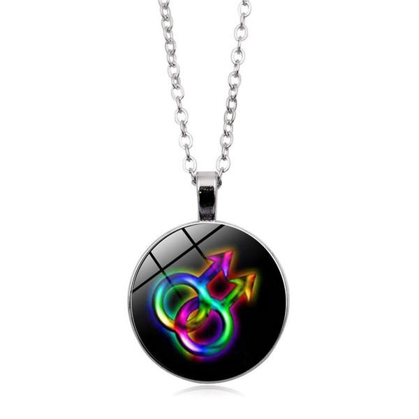 2019 nouveau collier pendentif modèle gay drapeau pendentif en verre cabochons pull à longues chaînes accessoires du vêtement exquis