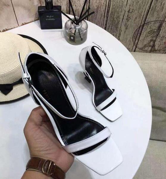 Nuovi arrivi 2019 pelle verniciata Thrill Heels Women Designer unico scarpe da punta a punta scarpe da sposa Sexy Black Red Letters Sandali con tacco