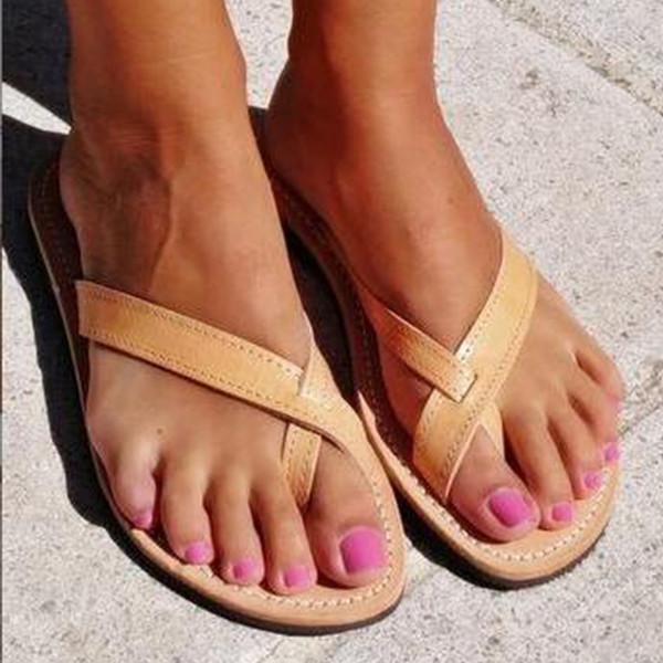 Yaz Kadın Terlik Rahat Çevirme Çapraz Kayış PU Kadın Slip-on Düz Ayakkabı Bayanlar Moda Slaytlar Klasik Plaj terlik