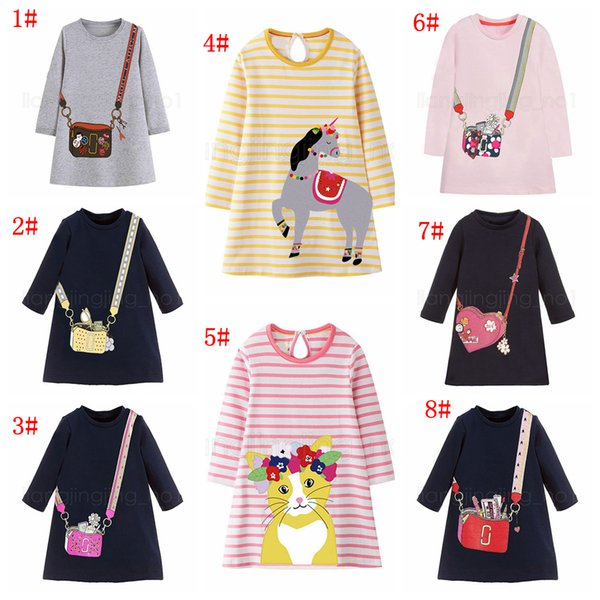 Girl cartoon printed Dress Party A-line T-shirt unicorn cat animals Long Sleeve Princess Dress for Girls home wear clothes FFA2764-1
