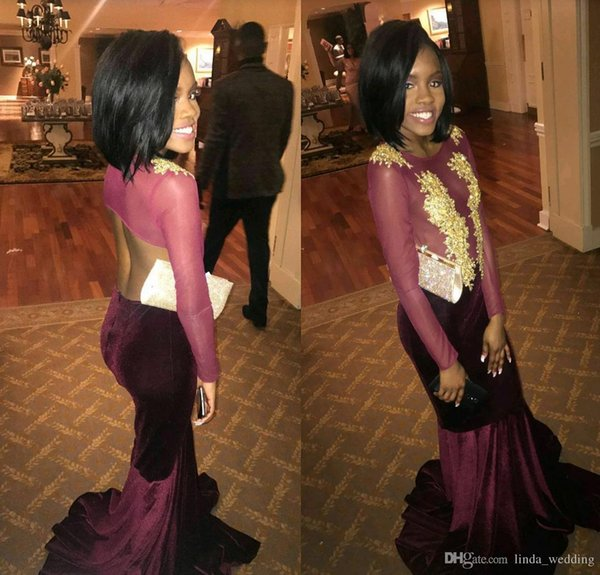 2018 African Burgundy Prom Dress Velvet Long Sleeves Formal Pageant Holidays Wear Graduation Evening Party Gown Custom Made Plus Size