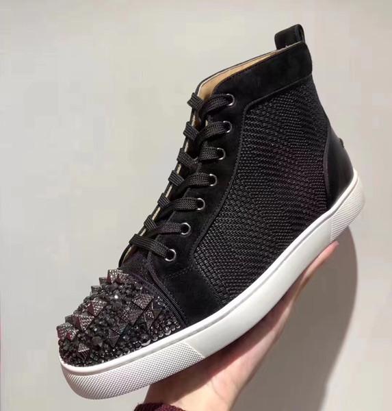 2019 NOUVELLE Marque Designer haut-Top Noir denim cuir véritable cristal plat Rouge Bas occasionnels chaussures à crampons pour hommes et femmes chaussures de baskets