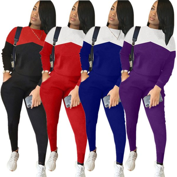 top popular Brand Designer women sweatsuit winter 2 piece set hoodie leggings tracksuit sweatshirt tights sportswear pullover pants outfits clothes 5665 2019