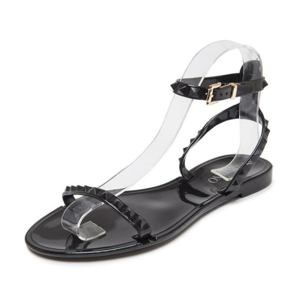 Europe and the United States new rivet jelly plastic sandals women's fashion open toe beach shoes