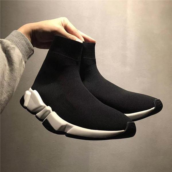 Скоростная вязка Средние кроссовки Носки Обувь Paris Speed Trainer Кроссовки Sock Race Runners Черные туфли мужские женские спортивные туфли