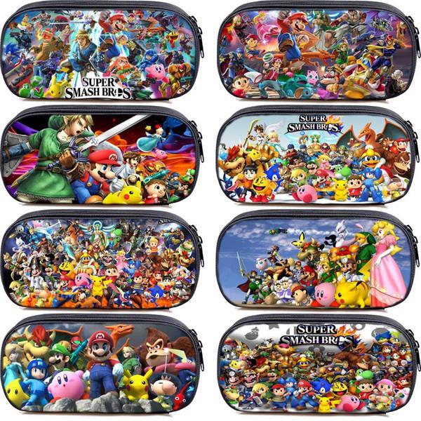Süper Mario Smash Bros Kalem Kutusu Kozmetik Kılıfları Erkek Kız Çocuk Okul Malzemeleri Kırtasiye Saklama Torbaları Makyaj Çantası