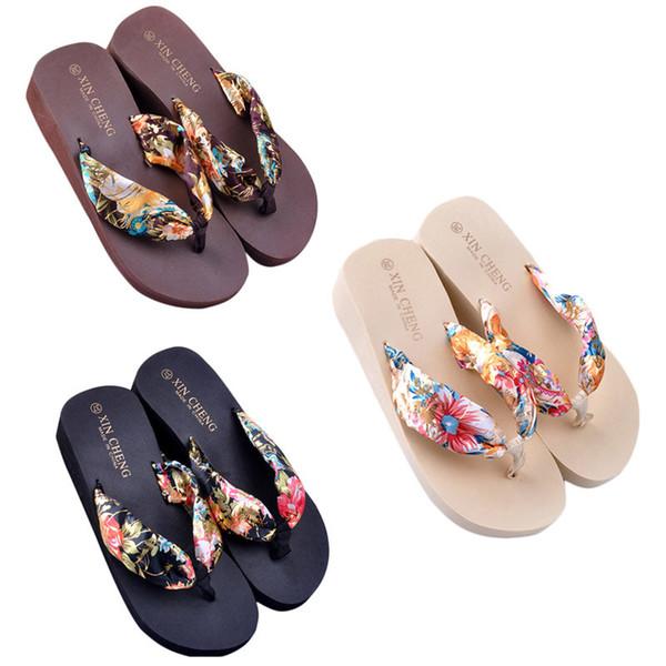 2019 Bohemia Floral Beach Sandali Piattaforma Wedge Pantofole Pantofole Infradito suummer shose per le donne ragazze spedizione gratuita